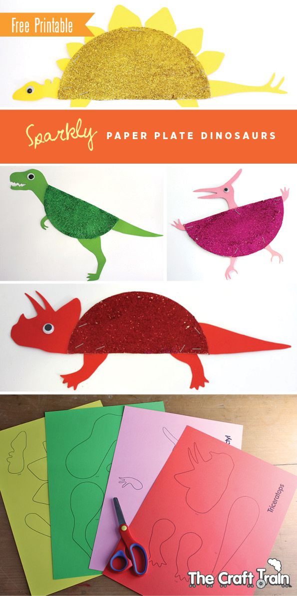 Sparkly paper plate dinosaurs (AKA Sparkle-a-saurusus) with free printable template: