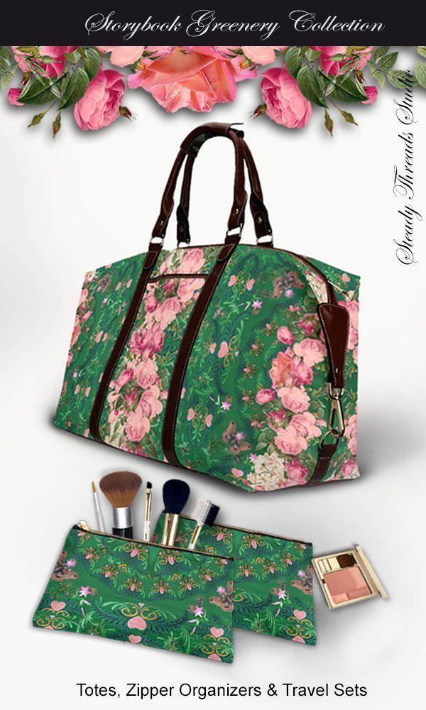 f4f9d3aa75b6 Pink   Green Floral Flight Bag