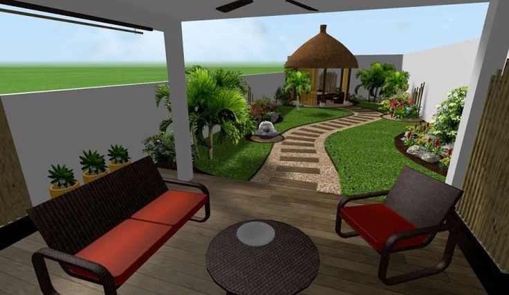diseño de jardin tropical moderno con kiosko para masage spa ...