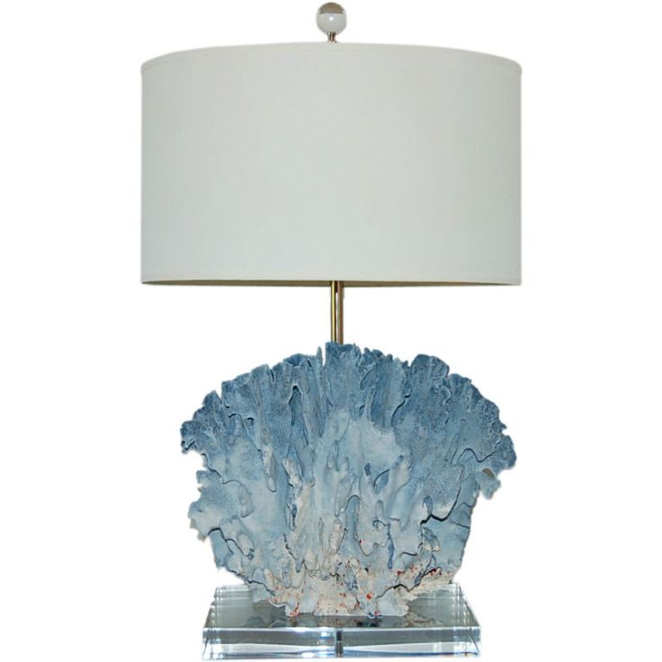 Velvety Egyptian Blue Suede Coral Lamp | From a unique collection of antique and modern table lamps at http://www.1stdibs.com/furniture/lighting/table-lamps/