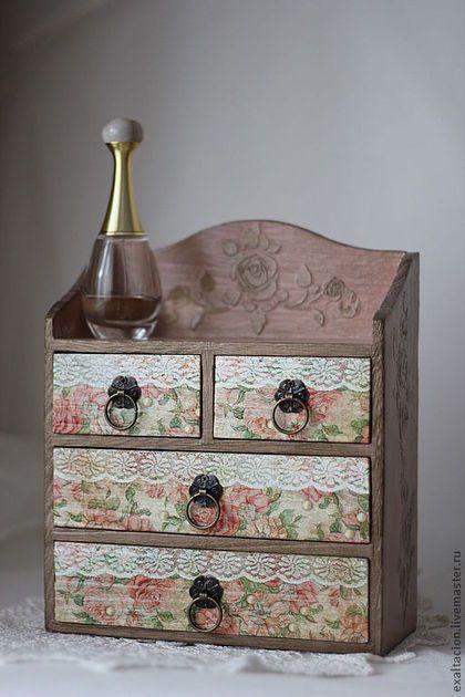 """Mini-cômodas feitas à mão.  Mestres Feira - handmade Mini cômoda """"Rosas"""".  Handmade."""