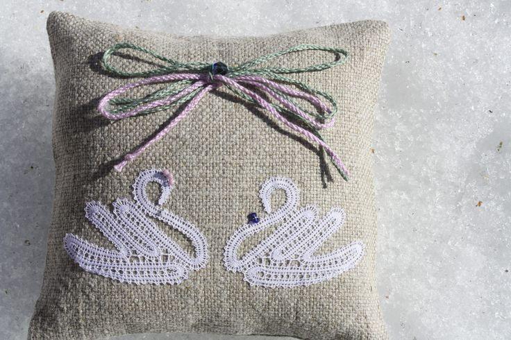 Ring Bearer Pillow /Handmade bobbinlace /Ring cushion / Wedding Ring cushion / Wedding pillow / Rustic / Cottage style Weddings by luxurybobbinlace on Etsy