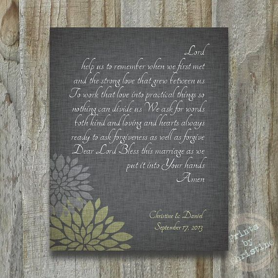 Wedding Gift Personalized Marriage Blessing Prayer Custom Art Print F