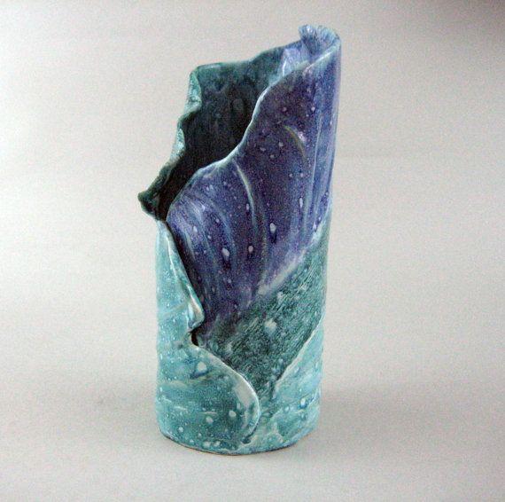 Handbuilt pottery Slab Ceramic Vase Pottery Vase by SANDSUZ