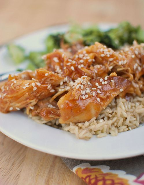 Put this Honey Sesame Chicken in your slow cooker in the morning and dinner will…