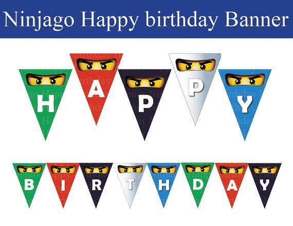 INSTANT DL Ninjago Happy Birthday banner   non by PishPesh on Etsy, $4.90