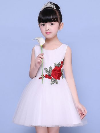 175ac0dd1e1f Embroidery Tulle Stitching Sleeveless Fluffy Mini Dress | Vestidos ...