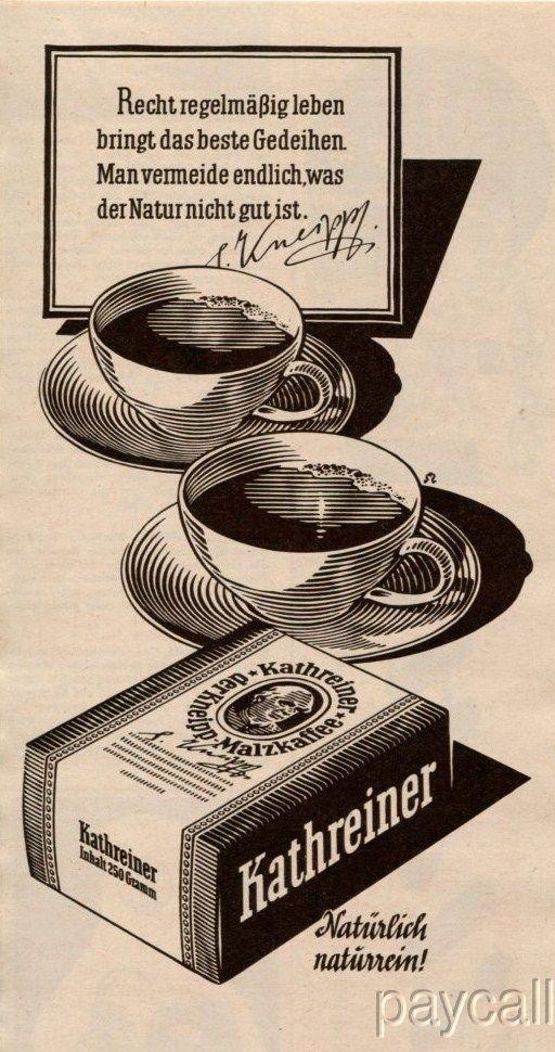 1956 Ad Katheriner Der Kneipp Malzkaffee Coffee