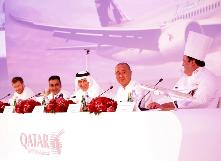 Qatar Airways Chief Executive Officer Akbar Al Baker hosts the airline's new culinary dream team of internationally-acclaimed chefs inspiring new-look menus and cuisine from around the world. From left: Chef Tom Aikens, Chef Vineet Bhatia, Qatar Airways CEO Akbar Al Baker, Chef Nobu Matsuhisa and Chef Ramzi Choueiri.
