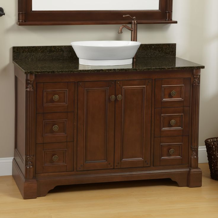 "Bathroom Vanity Ideas Pinterest: 48"" Walnut Trevett Vessel Sink Vanity"