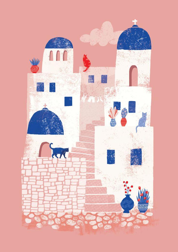 Santorini Greece // A4 art print by essillustration on Etsy