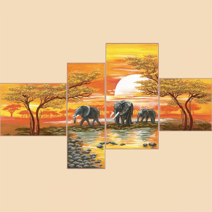 Рисунок на ткани для вышивки бисером Закат в Саванне (Полиптих из 4 частей)