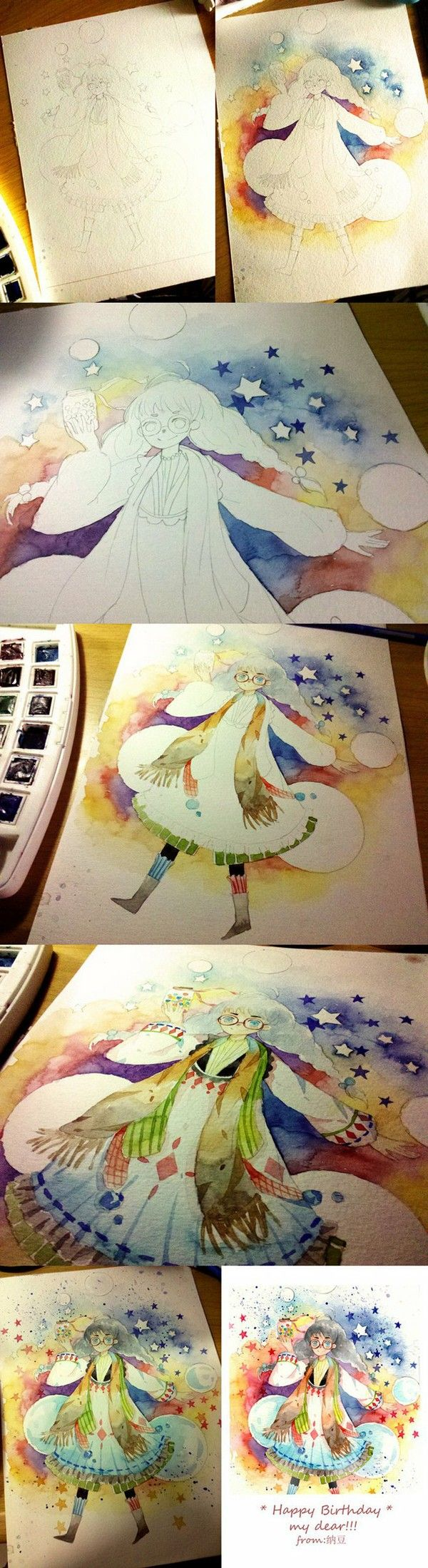 Stars and a girl walking, Watercolor painting idea. Cool background colors and design.