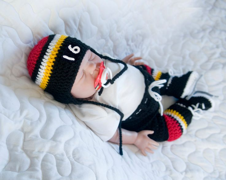 BABY HOCKEY OUTFIT, Calgary Flames pacifier not included, Crochet Baby Hockey, Knit Baby Hockey Skates, Black Red Gold, Knit Baby Hockey Hat by Grandmabilt on Etsy