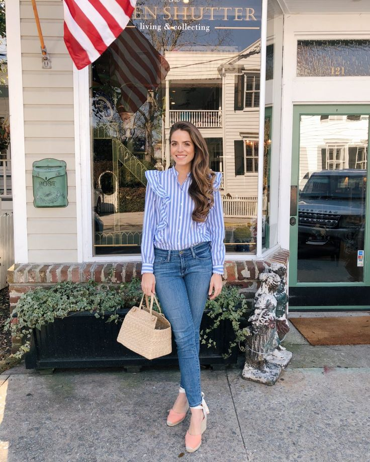 GMG Now Daily Look 1-25-18 Who What Wear for Target blouse, Frame jeans, Castaner Espadrilles, Doen bag