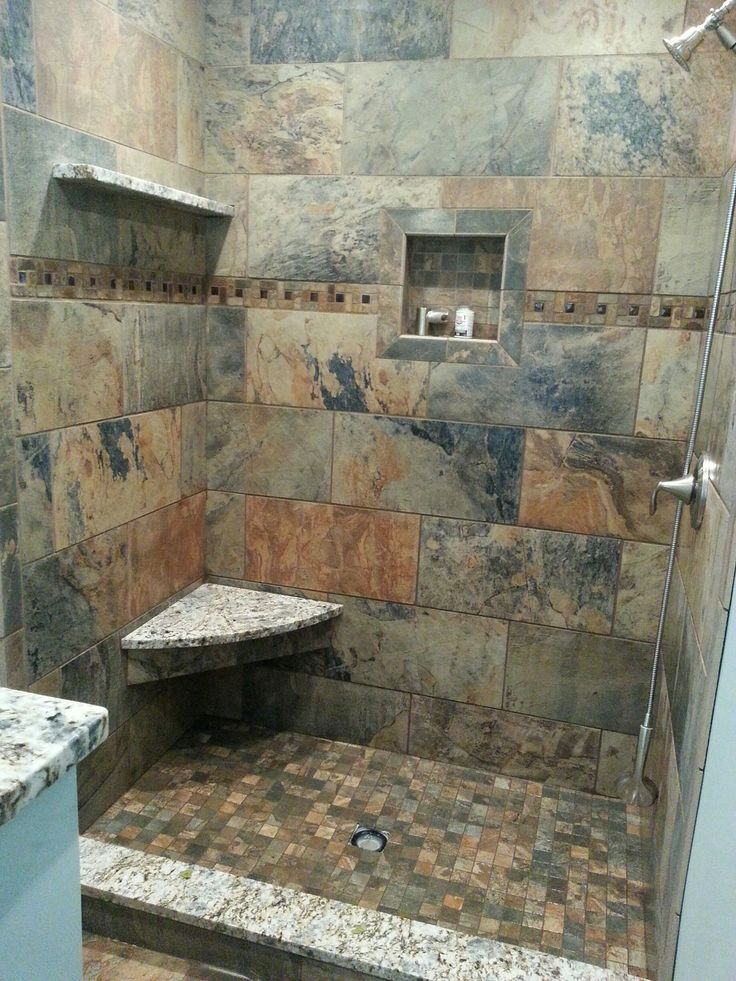 Custom shower still under construction florida tile 39 s for Granite and tile bathroom ideas