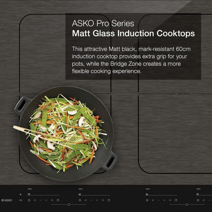 Induction. Optimise your cooking space. ASKO's flexible Bridge Induction Cooktops let you to bridge two cooking zones to create one large zone and optimise your cooking space.