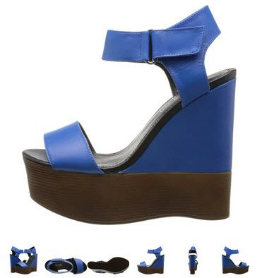 Sandale cu platforma inalta din piele albastra by Aldo Helonse. Imi place albastru regal!