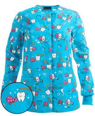 Cherokee Scrubs Forbidden Love Dental Snap Front Scrub Jacket Style # CK2350FO…