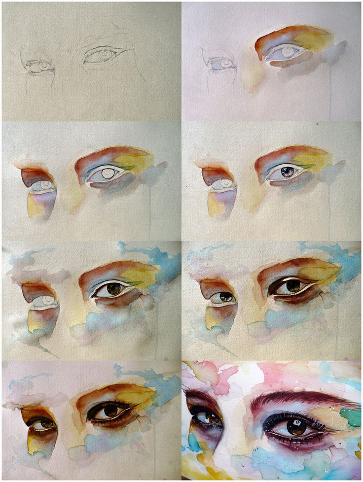Watercolor eye study, step by step by jane-beata.deviantart.com