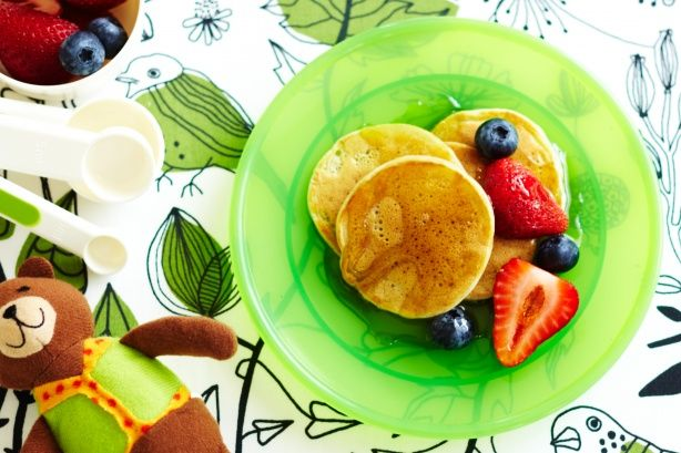 Eggs a problem? Not with this recipe. It uses water and a little oil instead of eggs to make delicious berry pancakes.