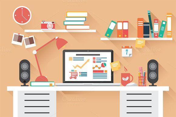 Check out Flat Design Office Desk 02 by Blue Lela Illustrations on Creative Market