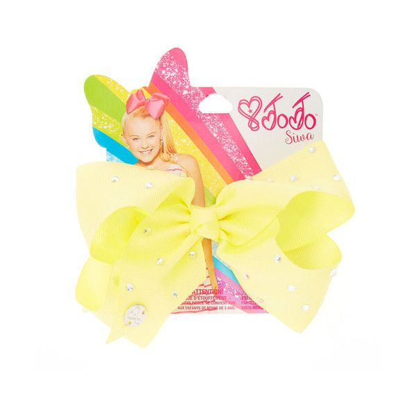 JoJo Siwa Small Rhinestone Lemon Signature Hair Bow | Claire's ($13) ❤ liked on Polyvore featuring accessories, hair accessories, bow hair accessories, rhinestone hair accessories and rhinestone hair bows
