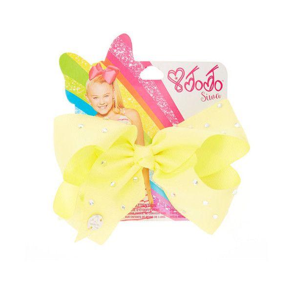 JoJo Siwa Small Rhinestone Lemon Signature Hair Bow | Claire's ($13) ❤ liked on Polyvore featuring accessories, hair accessories, bow hair accessories, rhinestone hair accessories and rhinestone hair bows