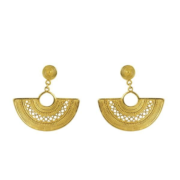 18k gold plated bronze earringsin semi-circle shape with multi-layered, intricate pattern details throughout their form including artisan filigree, wreath patt