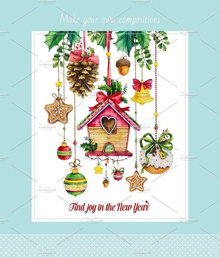 Watercolor set_Happy New Year by Mikheeva Ekaterina on @creativemarket
