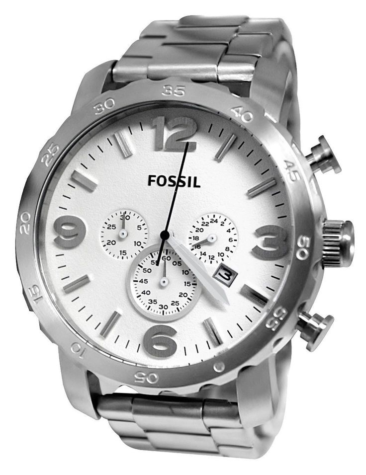 Fossil Nate Chronograph White Dial Stainless Steel Mens Watch JR1444