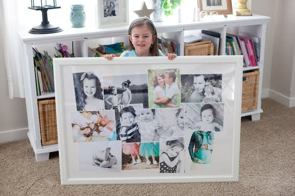 Did this..found huge 40x40 frame spray painted the frame and put scrapbook paper for the background and a bunch of random pics :)