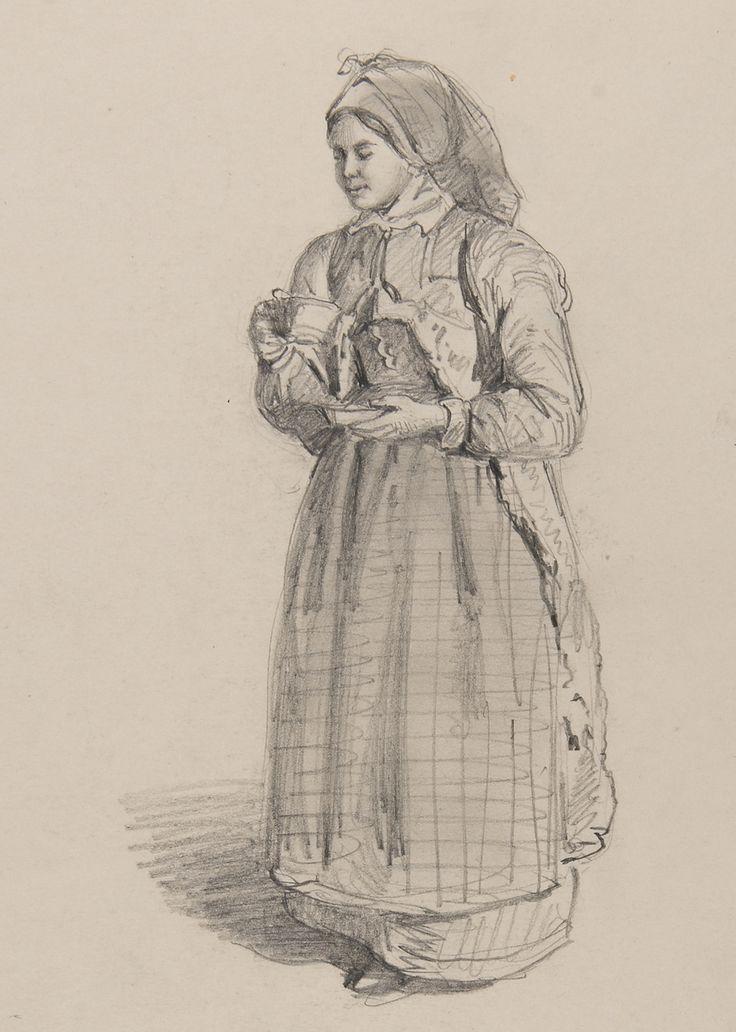 Dräkt. Blyertsteckning kvinna med kaffekopp. av J.W Wallander. Österåker.