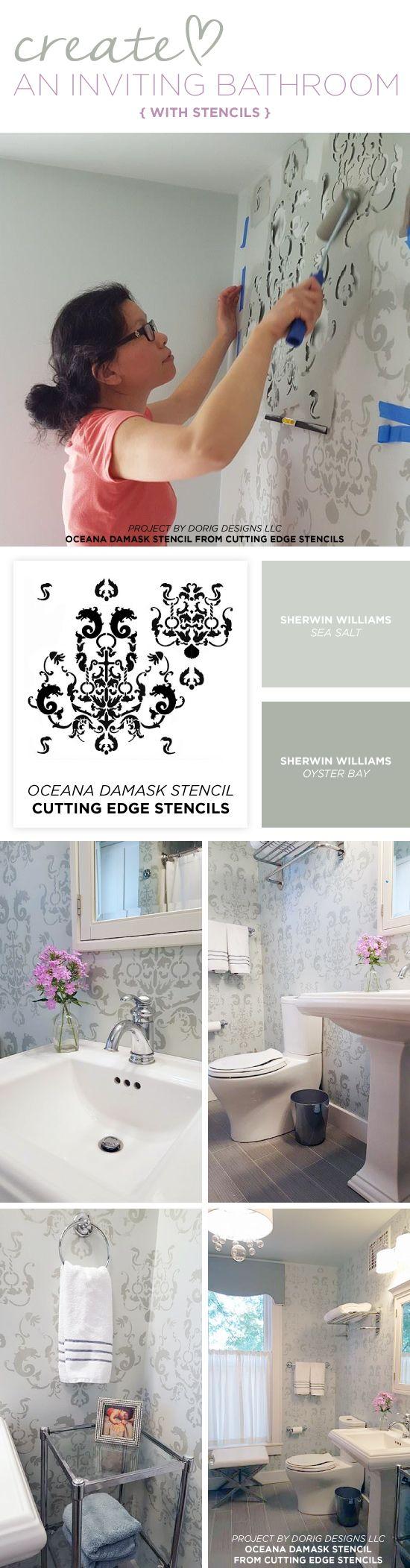 Cutting Edge Stencils shares a DIY bathroom makeover using the Oceana Damask wall pattern for a wallpaper look. http://www.cuttingedgestencils.com/stencil-nautical-decor.html