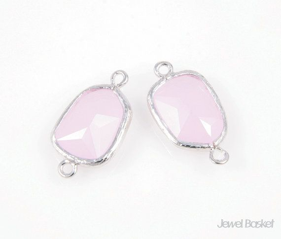 - Highly Polished Silver Frame (Tarnish Resistant) - Ice Pink Color Glass - Brass and Glass / 11mm x 20mm - 2pcs / 1pack