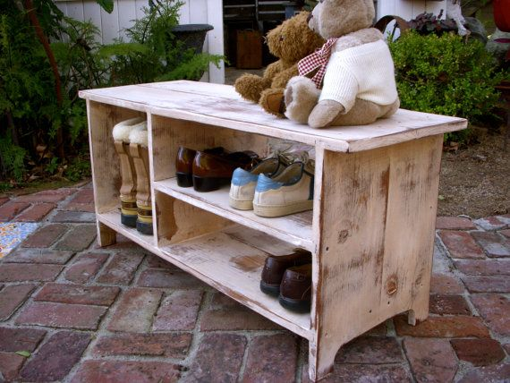Wood Shelf Storage  Shoe Bench  Entryway  Hall  by honeystreasures, $225.00