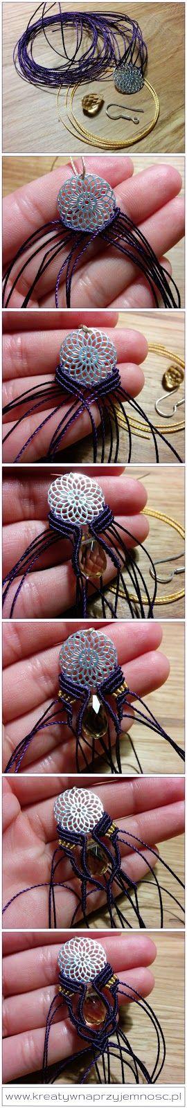 Micro macrame earrings DIY