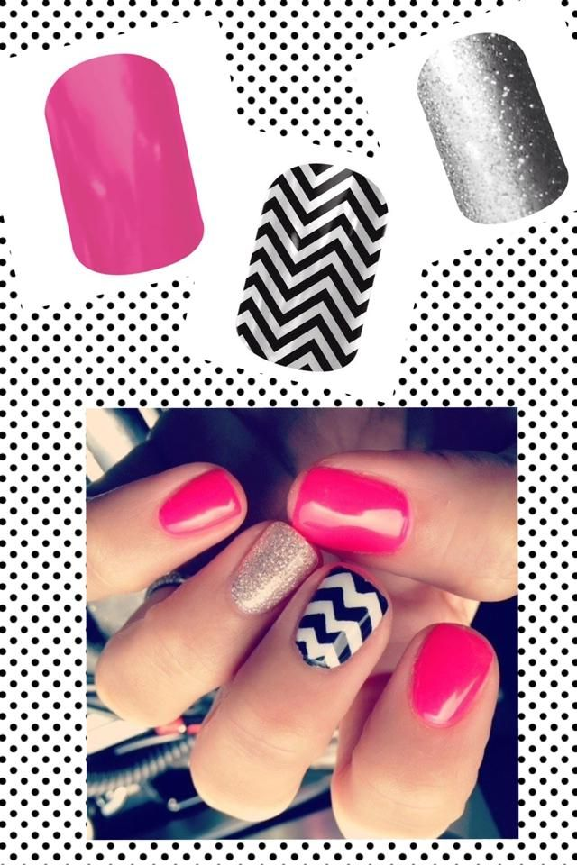Jamberry Nails - Haute Pink, Black & White Chevron, and Diamond Dust Sparkle. www.facebook.com/amylynne.jamberrynails
