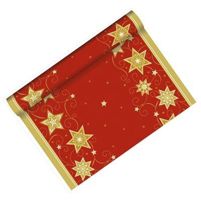 Kerst tafelloper rood met mooie gouden sterren. De tafelloper is ongeveer 3 meter lang en 40 cm breed. Het materiaal van deze tafelloper is papier met een plastic beschermingslaag.