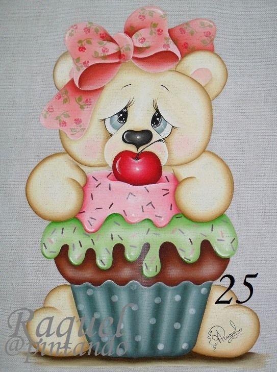 Resultado de imagem para cupcakes coelho pintura tecido