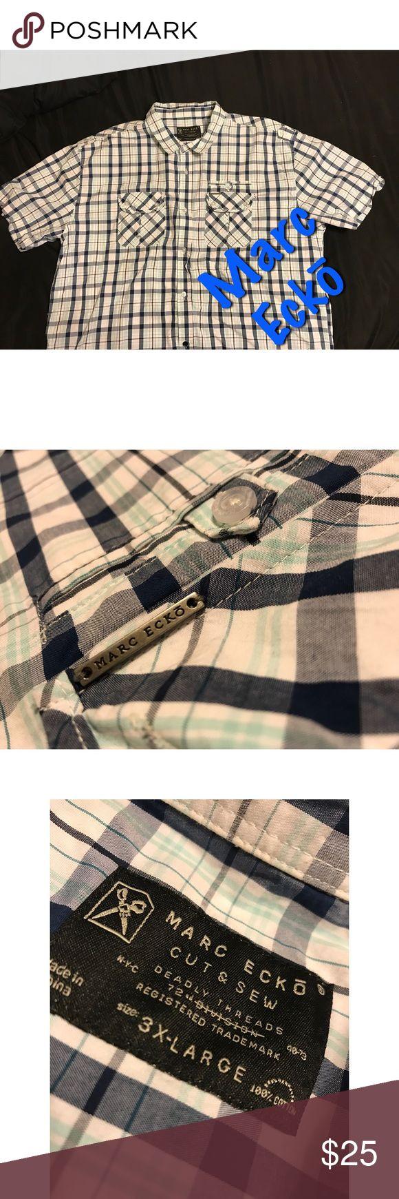 Men's Short Sleeve Button Down Marc Eckō, White & Blue Checkered Button Down, 100 % Cotton, 3XL Marc Eckō Shirts Casual Button Down Shirts