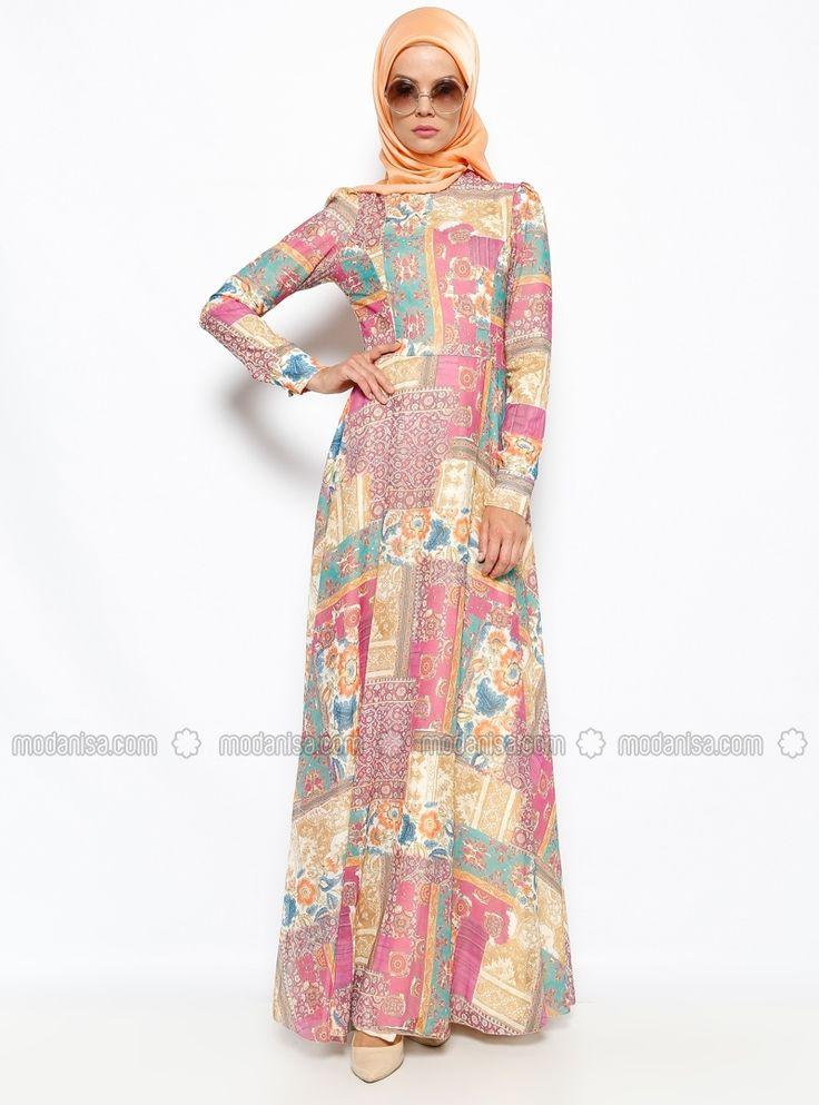 Şifon Günlük Elbise - Pembe - Dilek Etiz