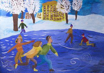 """Детский рисунок """"Катание на коньках в зимнем парке"""""""