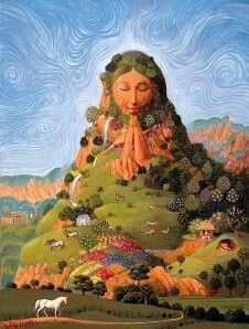 Pachamama- Incan myth:  the earth/time mother. Goddess of planting, harvesting, mountains, earthquakes, and nature. Water, earth, sun and moon originated from her.