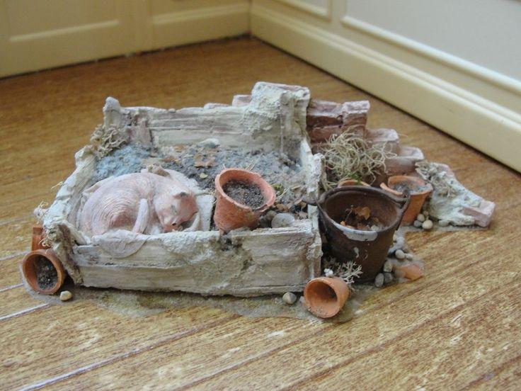 Dollhouse Miniature Rustic Sleeping Cat Farmyard Scene by Rosie Duck- England