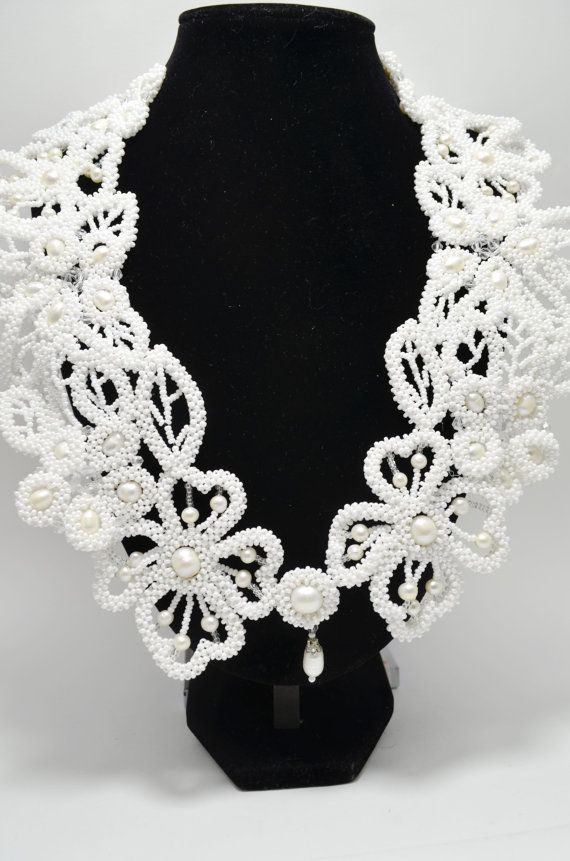White Perl Wedding Statement Collar Necklace, Beaded Jewelry Flower Necklace, Bridal Necklace, Bridesmaids Necklace, Gift for Her