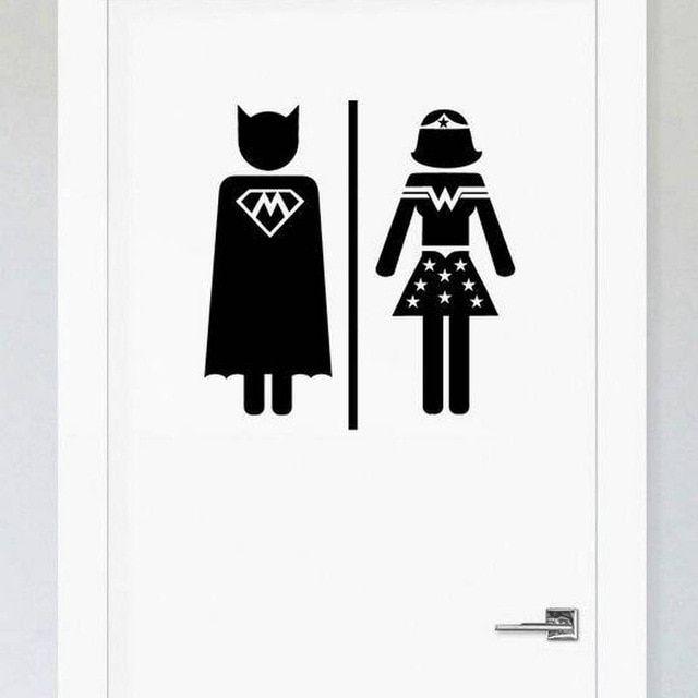 Men Women Restrooms Sign Funny Superhero Toilet Sticker For Bathroom Door Review Bathroom Doors Restroom Sign Bathroom Signs