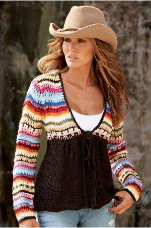 Precioso y original suéter en crochet.