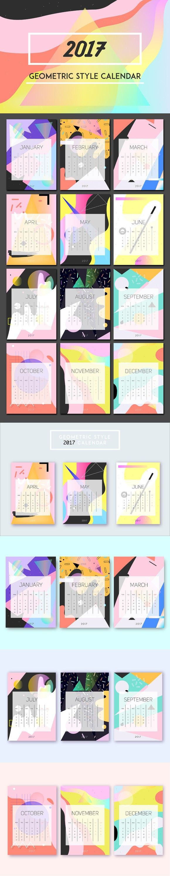 2017 abstract style calendar.. Illustrations. $12.00