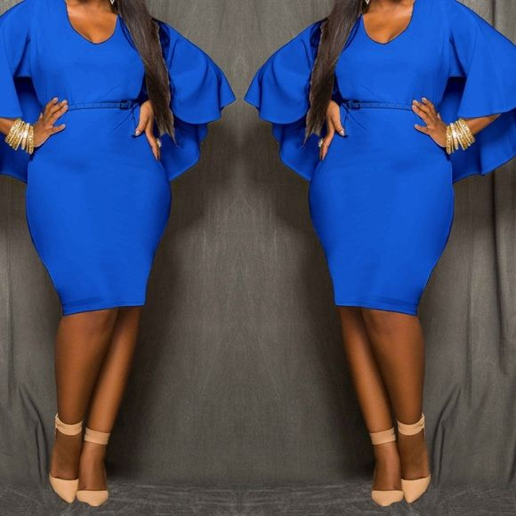 REDUCED Plus size bodycon dress XXL Beautiful royal blue bodycon dress. Tag reads 3X but fits like a XXL, very stretchy material Dresses Midi
